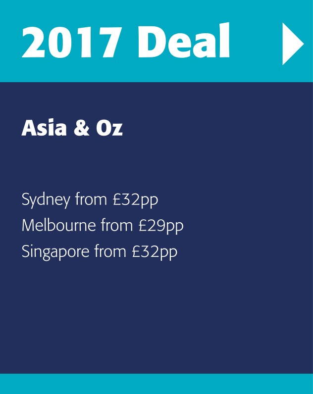 2017 latest offers to Australian and destinations in the Far East, full travel packages and city breaks.